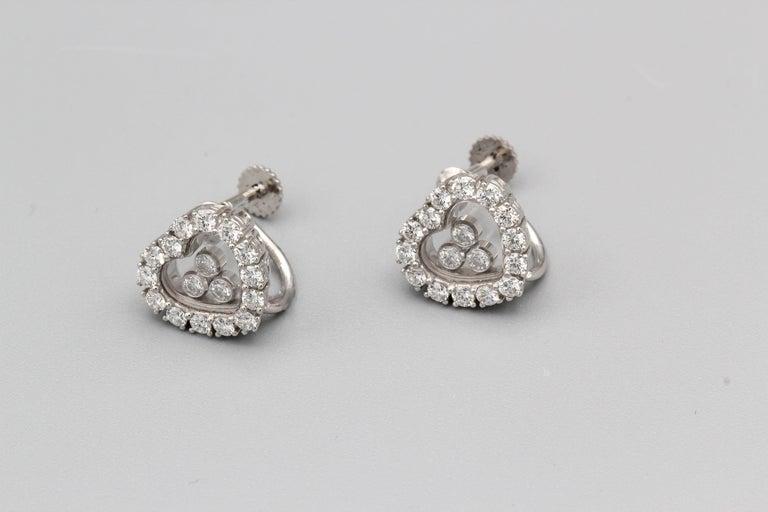 Contemporary Chopard Happy Diamond 18 Karat White Gold Earrings for Non Pierced Ears For Sale