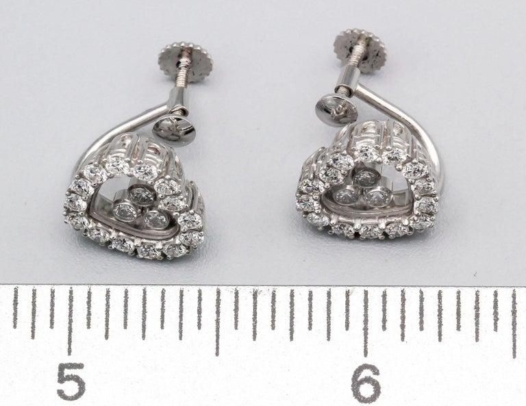Women's Chopard Happy Diamond 18 Karat White Gold Earrings for Non Pierced Ears For Sale