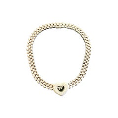Chopard Happy Diamond 18 Karat White Gold Heart Necklace Choker 2.76 Carat F VS1