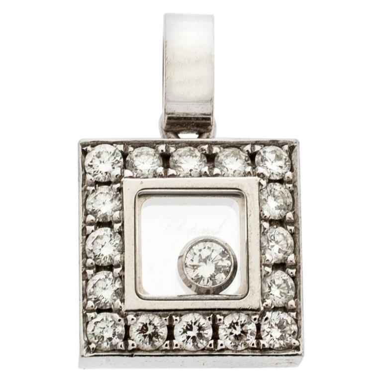 Chopard Happy Diamond 18k White Gold Square Pendant For Sale