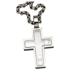 Chopard Happy Diamond and 18 Karat White Gold Cross Pendant Necklace
