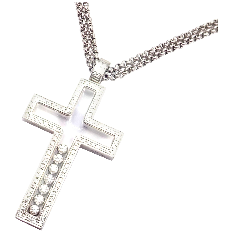 Chopard Happy Diamond Cross White Gold Pendant Necklace