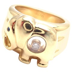 Chopard Happy Diamond Elephant Wide Yellow Gold Band Ring