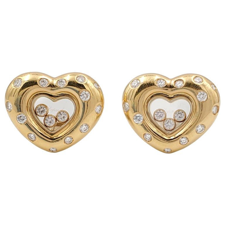 """Chopard """"Happy Diamond"""" Gold Heart Earrings For Sale"""