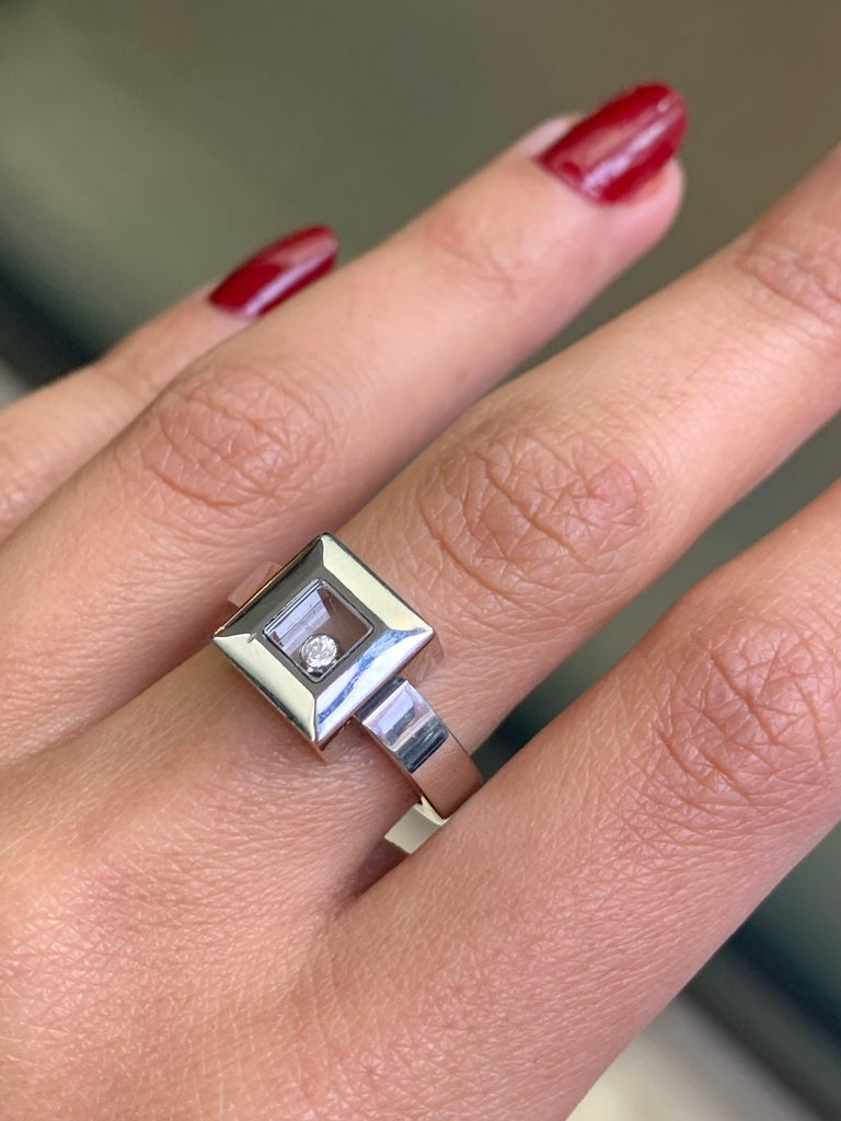 Chopard Happy Diamond Icons 18 Carat White Gold Ring In Good Condition For Sale In London, GB