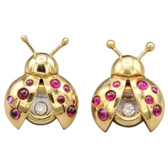 Chopard Happy Diamond Ruby and 18 Karat Gold Ladybug Earrings