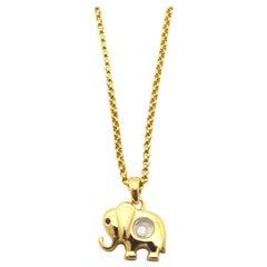 Chopard Happy Diamond Sapphire 18 Karat Gold Elephant Necklace