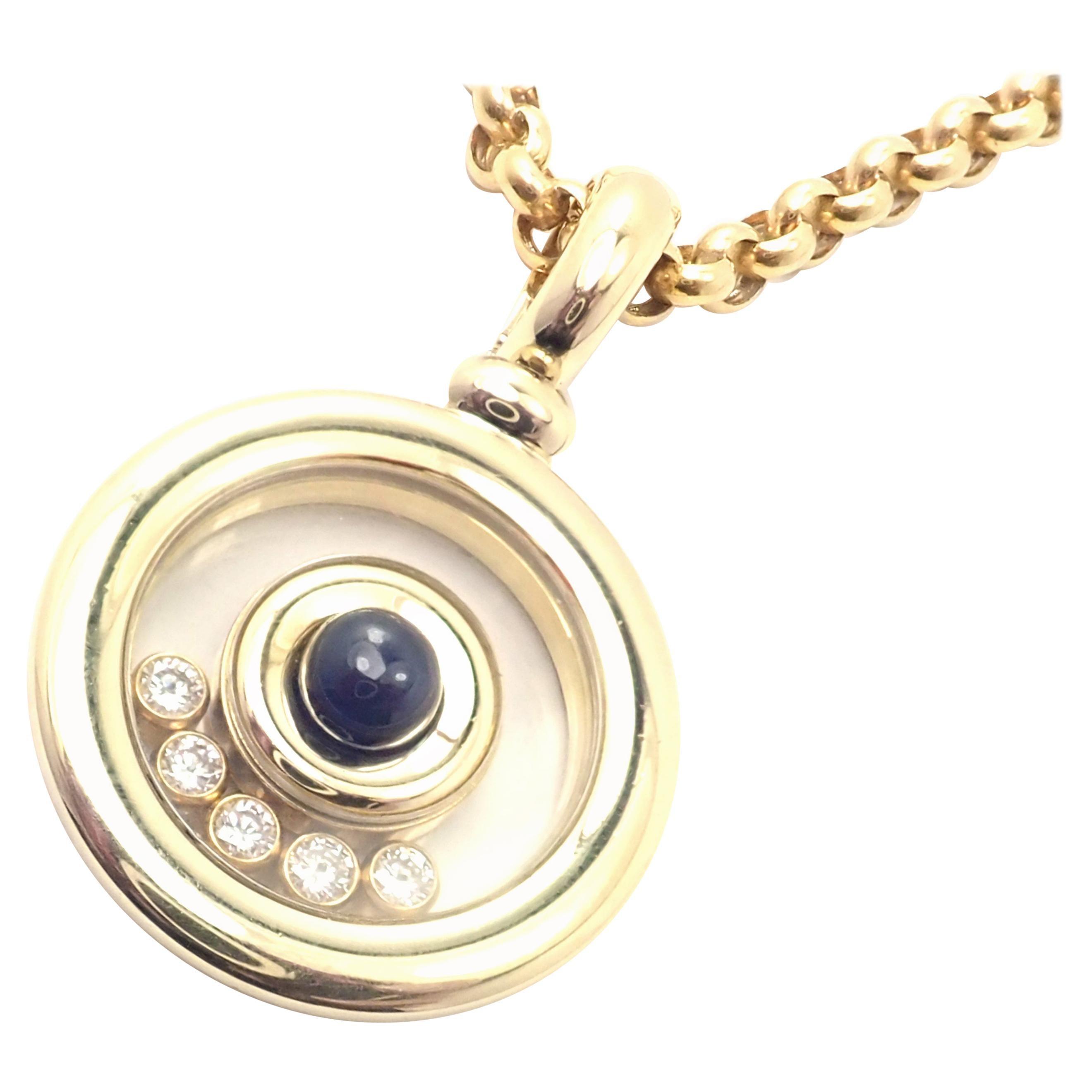 Chopard Happy Diamond Sapphire Yellow Gold Pendant Link Necklace