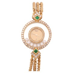 Chopard Happy Diamonds 0 4066 Ladies Yellow Gold Diamond & Emerald Bezel Watch