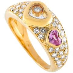 Chopard Happy Diamonds 18 Karat Gold 0.65 Carat Diamond and Pink Sapphire Heart