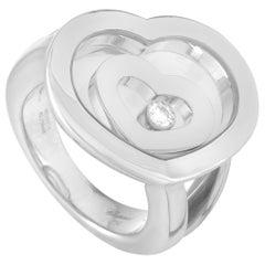 Chopard Happy Diamonds 18 Karat White Gold and Floating Diamond 2 Hearts Ring