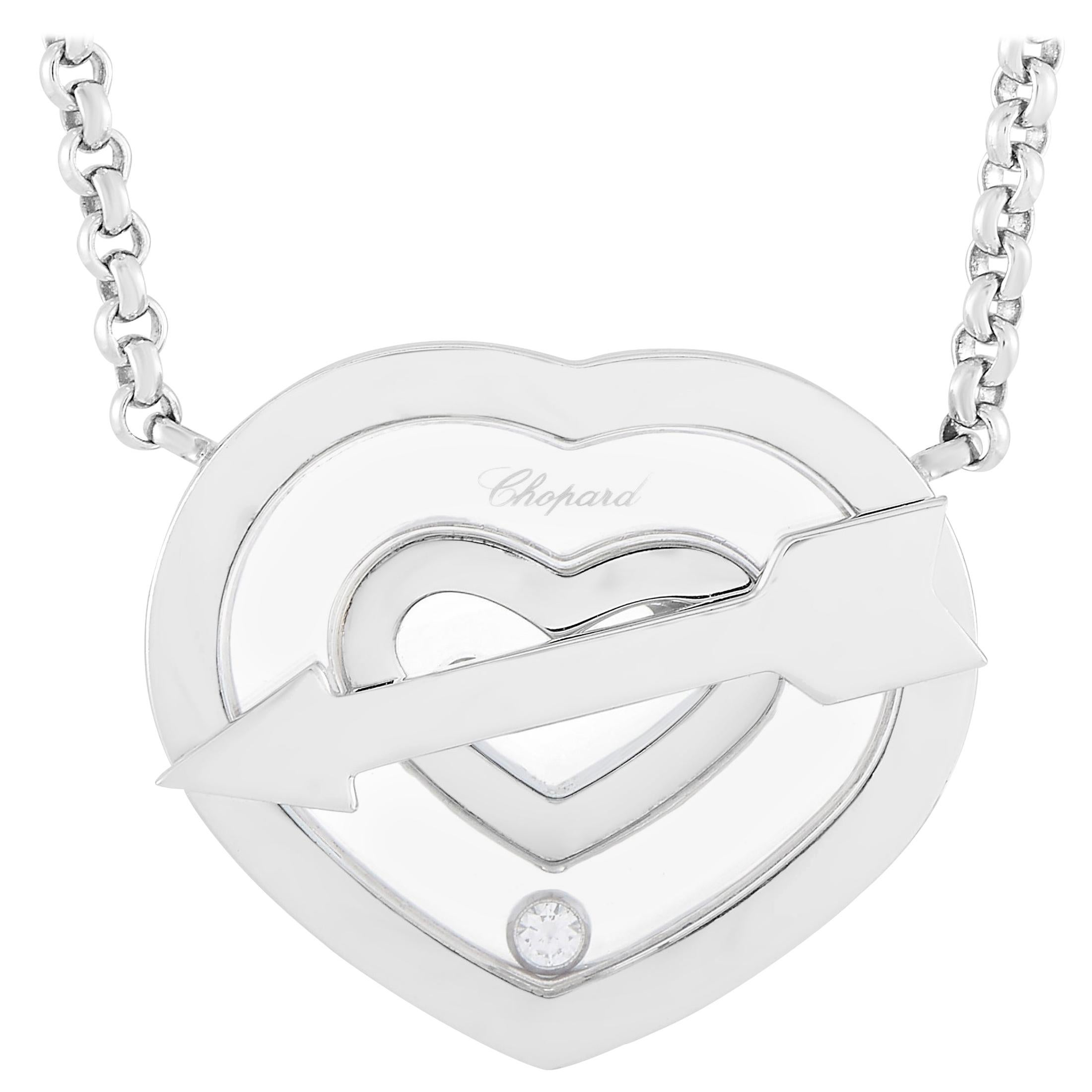 Chopard Happy Diamonds 18 Karat White Gold Diamond Heart Pendant Necklace