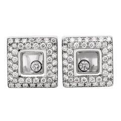 Chopard Happy Diamonds 18 Karat White Gold Diamond Square Stud Earrings