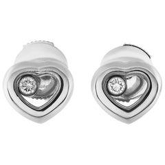 Chopard Happy Diamonds 18 Karat White Gold Floating Diamond Heart Earrings