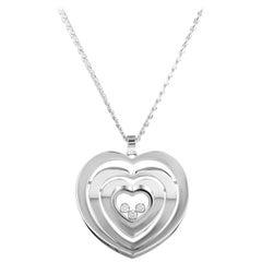 Chopard Happy Diamonds 18 Karat White Gold Heart Pendant Necklace 797221-1001
