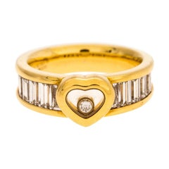 Chopard Happy Diamonds 18 Karat Yellow Gold and Trapeze Ring Size 54.5