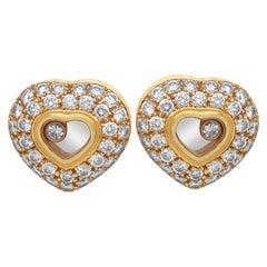 Chopard Happy Diamonds 18 Karat Yellow Gold Diamond Heart Stud Earrings