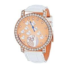Chopard Happy Diamonds 18k Rose Gold Monetere Butterfly Watch