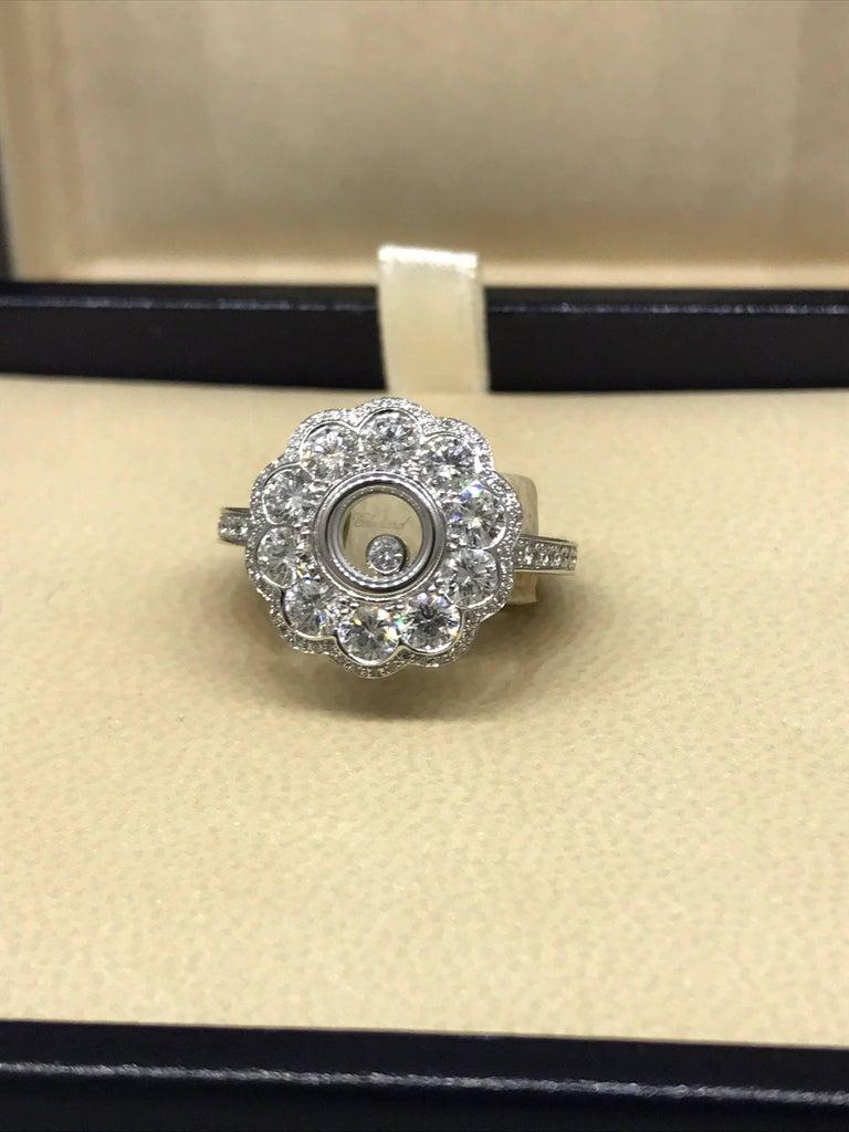 Chopard Happy Diamonds 18 Karat White Gold Pave Diamond Flower Ring