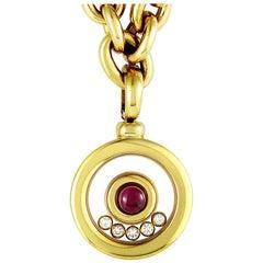 Chopard Happy Diamonds 18 Karat Gold Floating Diamond and Gemstone Pendant