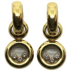 Chopard Happy Diamonds, Dangle, Drop Earrings, 18 Karat Gold