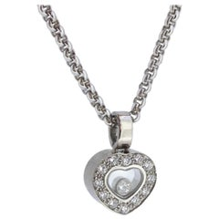 Chopard Happy Diamonds Floating Diamond White Gold Heart Shape Pendant Necklace