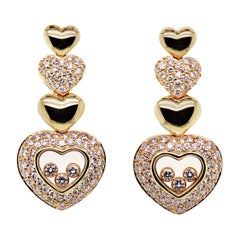 Chopard Happy Diamonds Heart 18 Carat Yellow Gold and Diamond Earrings