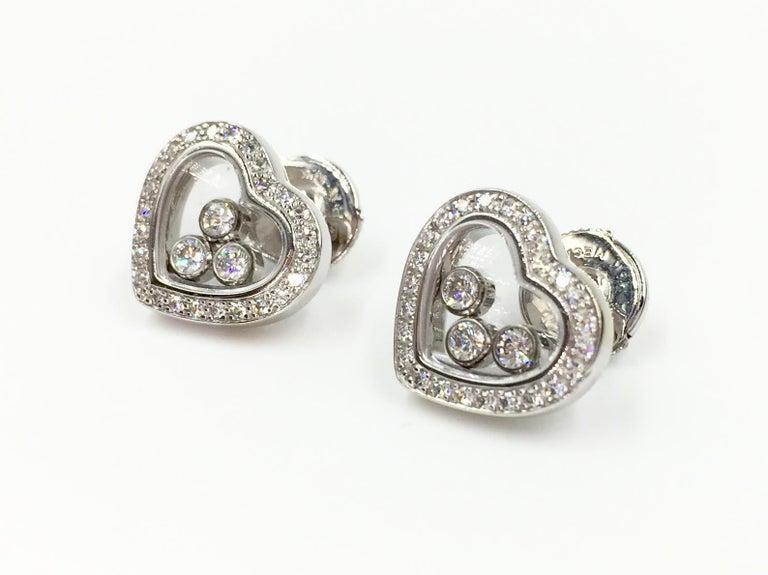 Contemporary Chopard Happy Diamonds Heart Earrings 18 Karat White Gold For Sale