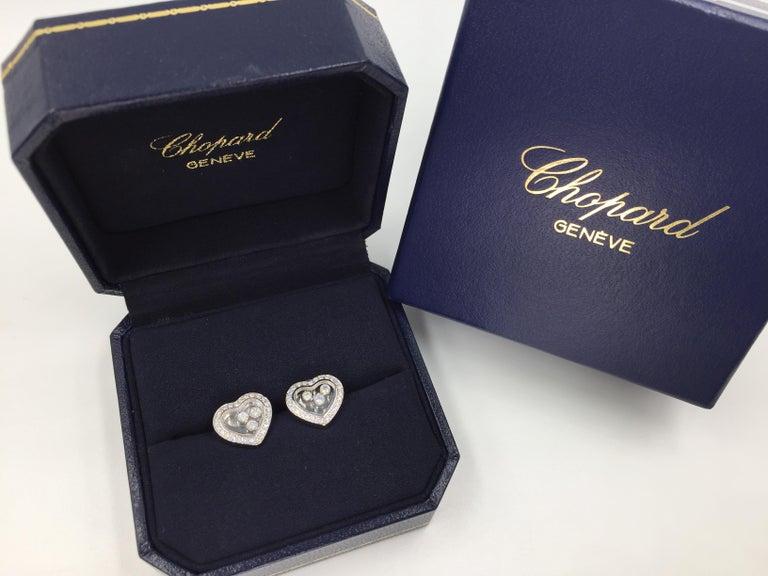Women's Chopard Happy Diamonds Heart Earrings 18 Karat White Gold For Sale