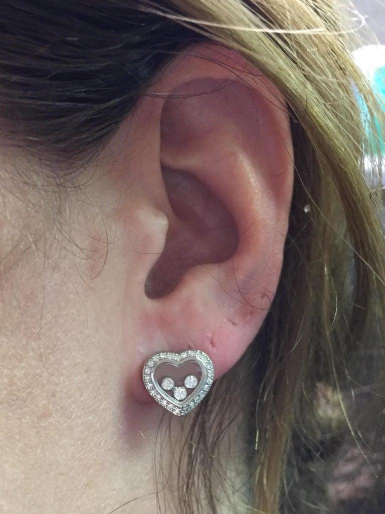 Chopard Happy Diamonds Heart Earrings 18 Karat White Gold For Sale 2