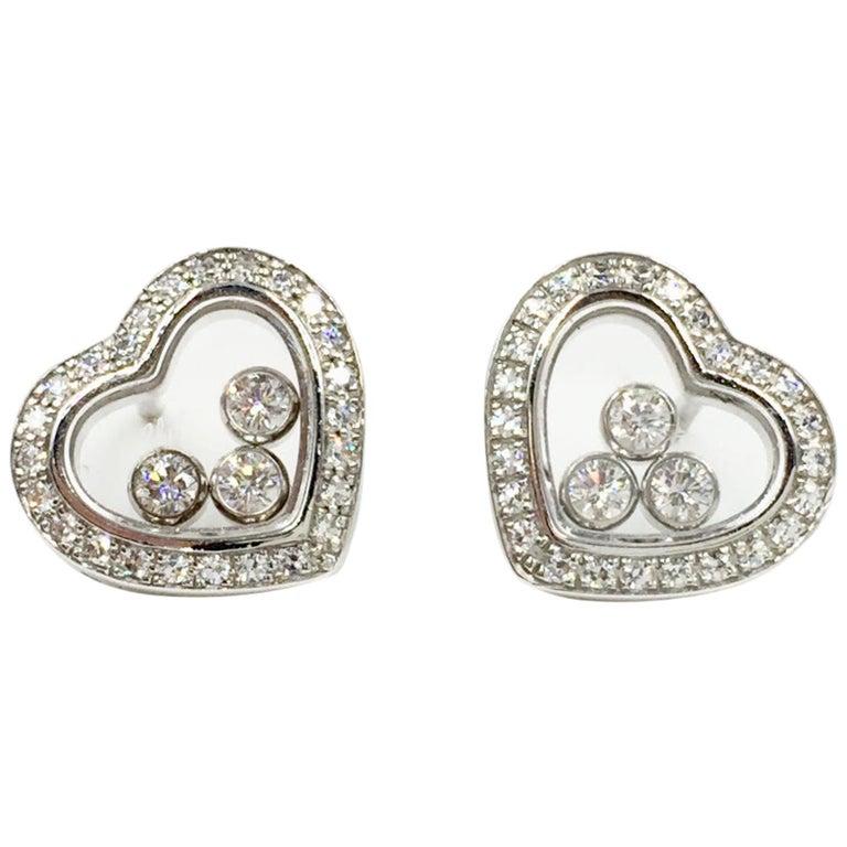 Chopard Happy Diamonds Heart Earrings 18 Karat White Gold For Sale