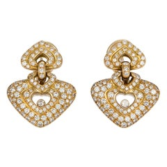 Chopard Happy Diamonds Heart Motif Earrings 18 Karat Yellow Gold 2.83 Carat