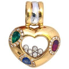 Chopard Happy Diamonds Heart Pendant Emerald Ruby Sapphire Limited Addition