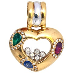 Chopard Happy Diamonds Heart Pendant Emerald Ruby Sapphire Limited Addition