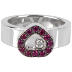 Chopard Happy Diamonds Heart Ring in 18 Karat White Gold 0.02 Carat