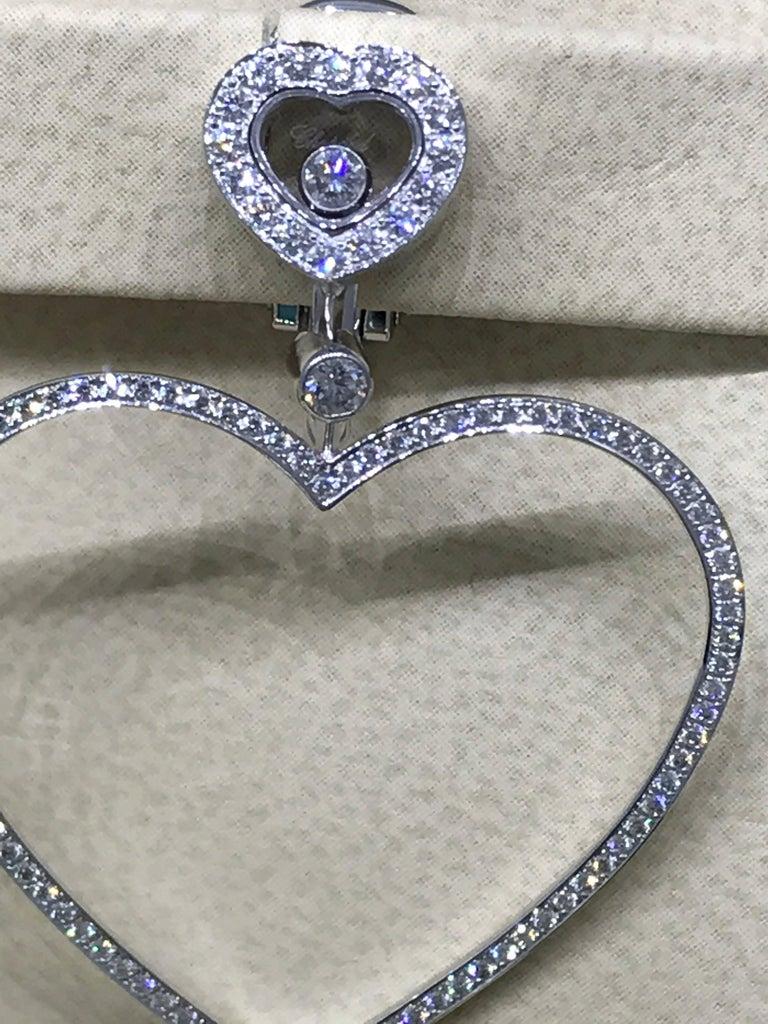 Women's Chopard Happy Diamonds Hearts 18 Karat White Gold and Diamonds Large Earrings For Sale