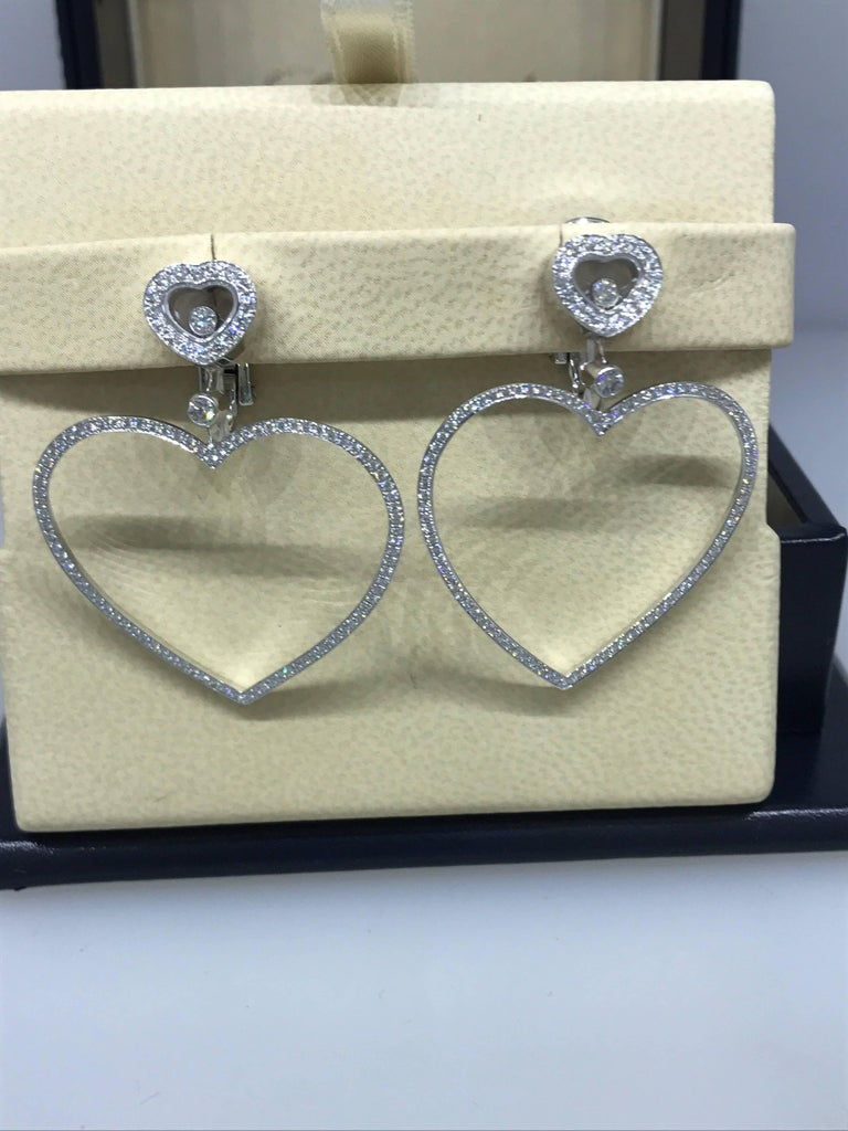 Chopard Happy Diamonds Hearts 18 Karat White Gold and Diamonds Large Earrings For Sale 1