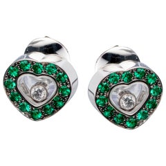 Chopard Happy Diamonds Hearts White Gold and Emerald Earrings 83/2936