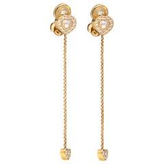 Chopard Happy Diamonds Hearts Yellow Gold Long Drop Clip-On Earrings 84/4663 New