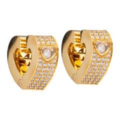 Chopard Happy Diamonds Hearts Yellow Gold Pave Diamond Earrings 84/3462-20