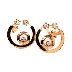 Chopard Happy Diamonds Hoop and Stars Earrings 18 Karat Rose Gold