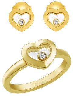 Chopard Happy Diamonds Icon 18k Yellow Gold Heart Ring & Earrings Matching Set