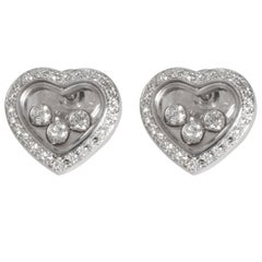 Chopard Happy Diamonds Icons Heart Earrings in 18 Karat White Gold 0.70 Carat
