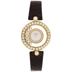 Chopard Happy Diamonds Ladies 18 Karat Gold Silver Dial Diamond Set 20/5458