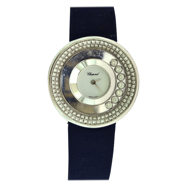 Chopard Happy Diamonds Ladies White Gold Watch Blue Crocodile Strap Watch