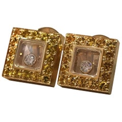 Chopard Happy Diamonds Square Yellow Gold Sapphire and Diamond Earrings