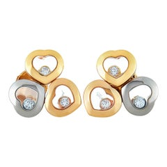 Chopard Happy Diamonds White and Rose Gold 6 Floating Diamonds Heart Earrings