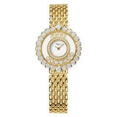 Chopard Happy Diamonds White Dial 18 Karat Yellow Gold Ladies Watch 204180-0001
