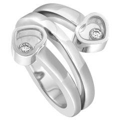 Chopard Happy Diamonds White Gold 2 Floating Diamonds 2 Hearts Ring