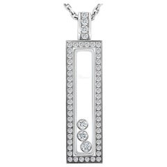 Chopard Happy Diamonds White Gold and Diamond Rectangle Pendant Necklace